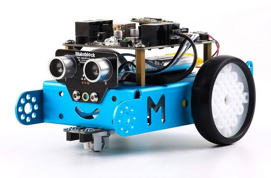 image of an mBot, small sturdy robot designed for 8yr olds plus