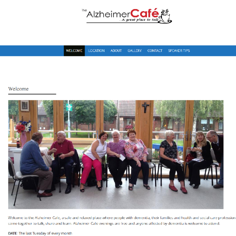 Image of Alzheimer Cafe NS Website developed by Emer Thornbury